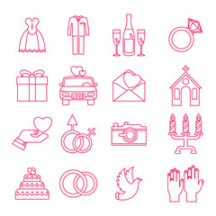 Vector flat outline web icons of love and wedding ceremony. Objects isolated on white background.