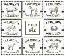 Labels with farm animals. Set templates price tags for shops and markets of organic food. Vector illustration art. Vintage. Hand drawn animals