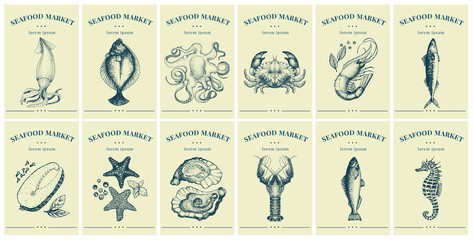 Labels with seafood and fishes. Set templates price tags for shops and markets of organic food. Vector illustration art. Vintage. Hand drawn nature objects. Fotoväggar