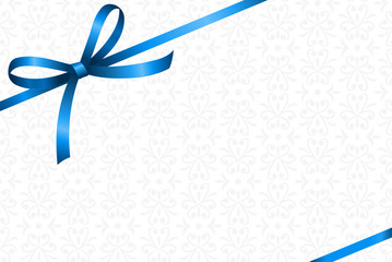 Invitation, Greeting or Gift Card With Blue Ribbon And A Bow  on White Decorative Elements  background.  Gift Voucher Template with  place for text.