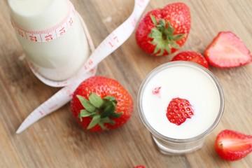 Fresh strawberry with milk