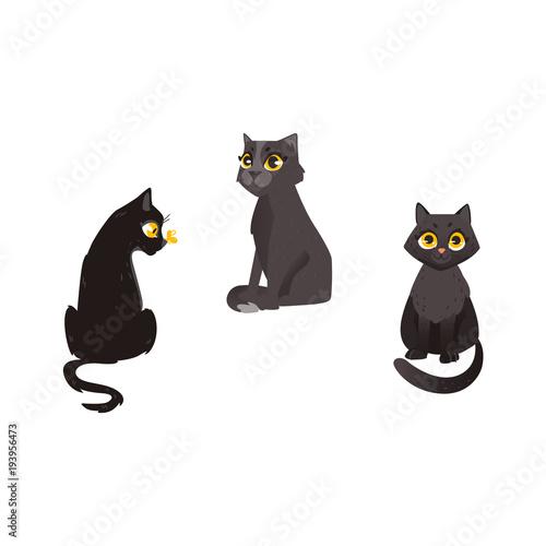 Vector Cartoon Black Cat Animals Set Funny Flat Domestic Pets In