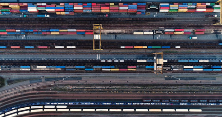 container en vue aérienne