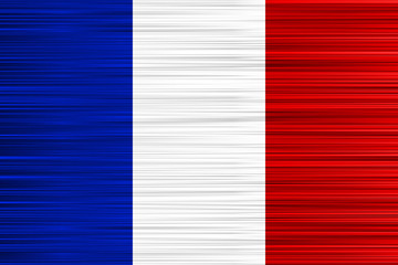 Vector concept of French Flag. Blue white red background with specific effect of uneven stripes.