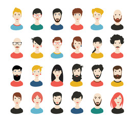 People heads icons. Face avatar. Man, woman in flat style. Vector.