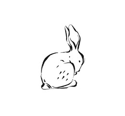 Hand drawn vector abstract ink sketch graphic drawing Happy Easter cute simple bunny illustrations elements for your design isolated on white background