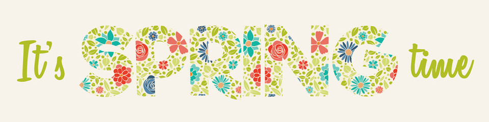 "Floral text ""Spring"" - colourful banner. Vector."