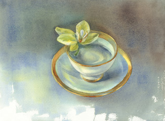 a porcelain cup with orchid flower watercolor