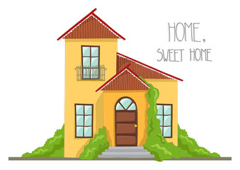 Cartoon house illustration with bushes, from front. Vector illustration of home, isolated on white.