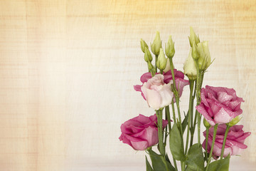 Beautiful pink Lisianthus flower bouquet on a wooden background. with space for your text