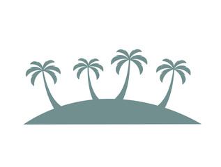 Palm trees on island