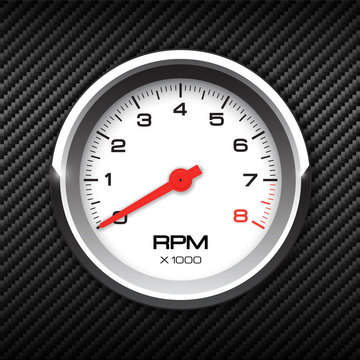Vector tachometer on carbon background