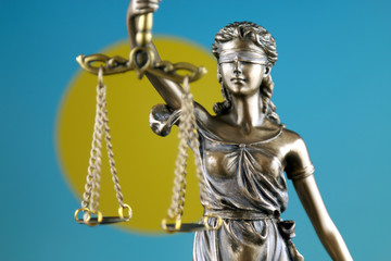 Symbol of law and justice with Palau Flag. Close up.