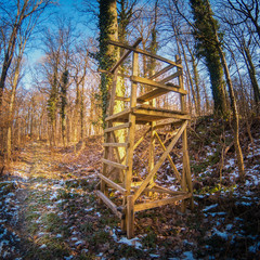 Wooden old high seat in the forest