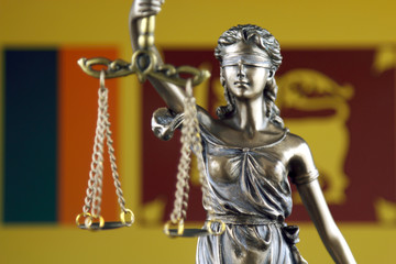 Symbol of law and justice with Sri Lanka Flag. Close up.