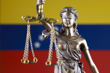 Symbol of law and justice with Venezuela Flag. Close up.