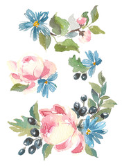 Collection decorative design of watercolor flowers and leaves in vintage style.