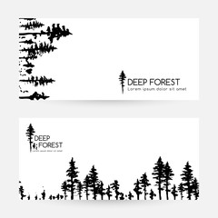 Ink hand drawn forest. Design collection.