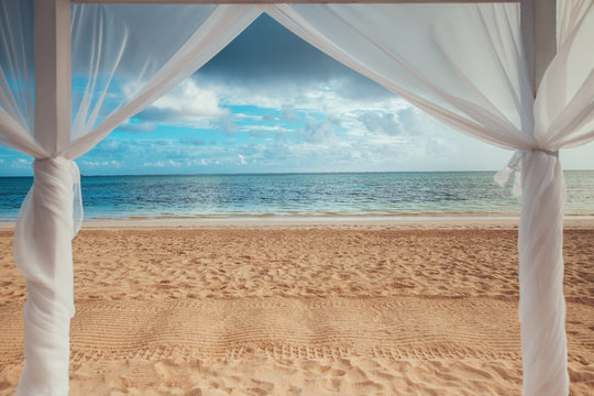 Paradise seascape. Tropical beach view on the Caribbean sea and Dominican Republic