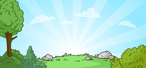 Cartoon sunrise nature landscape background
