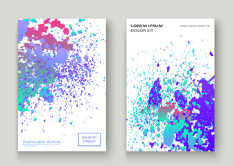 Neon explosion paint holographic splatter artistic cover design. Fluid blue gradient dust splash texture background. Trendy creative template vector Cover Report Catalog Brochure Flyer Product