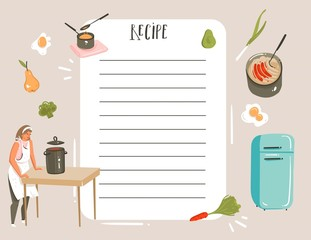 Hand drawn vector abstract modern cartoon cooking studio illustrations recipe card planner templete with woman,food,vegetables and handwritten calligraphy isolated on white background