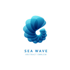 Swirl nautical abstract emblem. Blue marine vector logo.