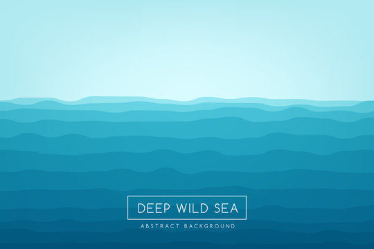 Sea waves background. Blue abstract vector banner.