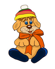 Cartoon puppy is sitting in a colored hat with a red ribbon and in blue shoes