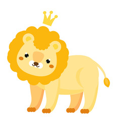 Cute lion. Cartoon lion with crown. Kawaii animal character for kids and baby fashion prints and design. Isolated clip art