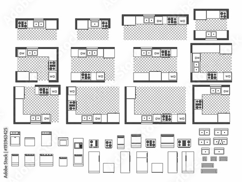 """""""Top view of set furniture elements outline symbol for ..."""