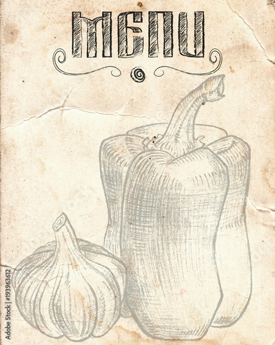 Old vintage paper with pepper and garlic  Restaurant Menu