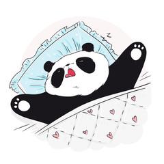 Cute sleeping panda bear. Vector illustration