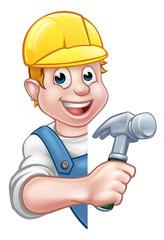Carpenter Builder Cartoon Character