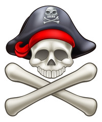 Pirate Hat Cartoon Skull and Crossbones