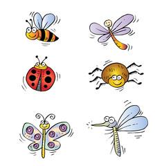Cute cartoon insect set.