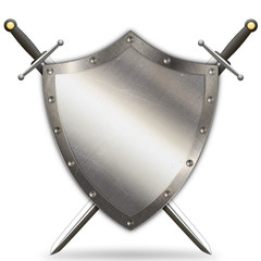 Antique riveted shield and two swords.