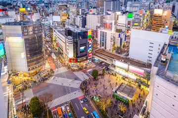 Shibuya, Tokyo, Japan cityscape over the scramble crosswalk.