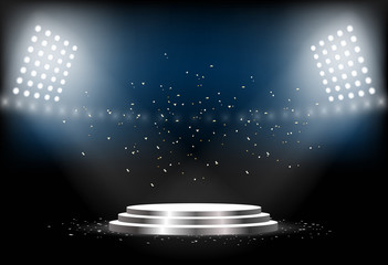 Round podium. Empty pedestal for award ceremony. Platform illuminated by spotlights. Vector illustration.