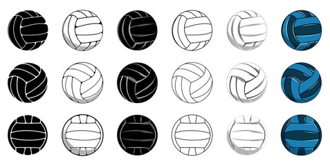 Set volleyball icon contour ball, colored ball