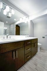 Elegant bathroom with espresso double vanity