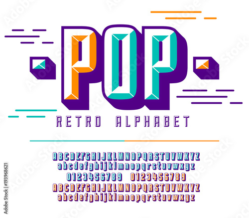 Stylish Colorful Stylized Retro Pop Font And Alphabet With Numbers Upper Uppercase Letters