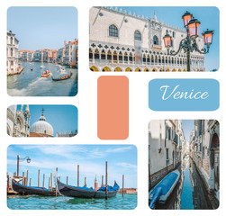 Photo collage from Venice - gondolas, canals, street lights with pink glass, Dodge Palace, set of travel pictures, Venice, Italy.