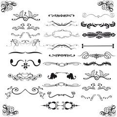 Set of horizontal calligraphic design elements