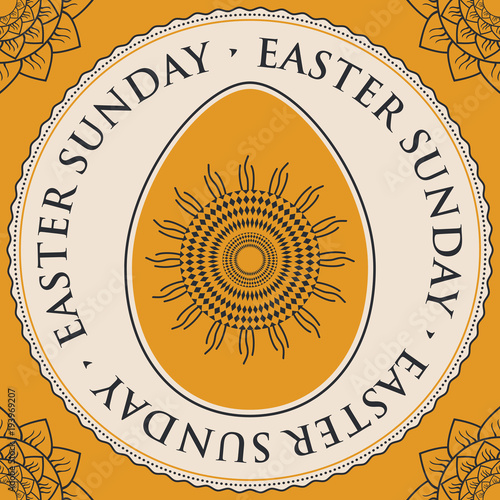Vector greeting card with words easter sunday easter egg with vector greeting card with words easter sunday easter egg with decorative ornament in a round m4hsunfo