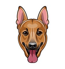 German shepherd dog face. Cartoon vector illustration isolated on white