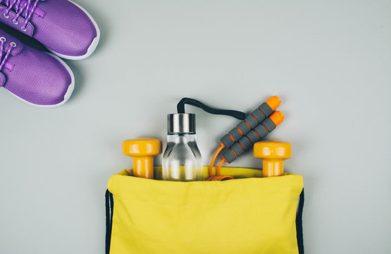 Creative flat lay of sport and fitness equipments