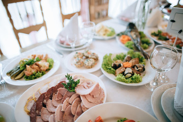 Catering service. Restaurant table with food at wedding