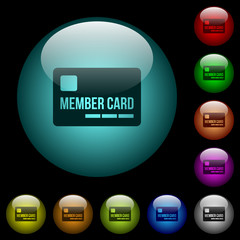 Member card icons in color illuminated glass buttons