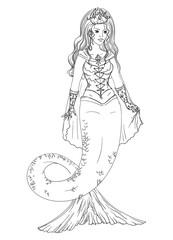 Mermaid. Isolated on white background. Vector illustration